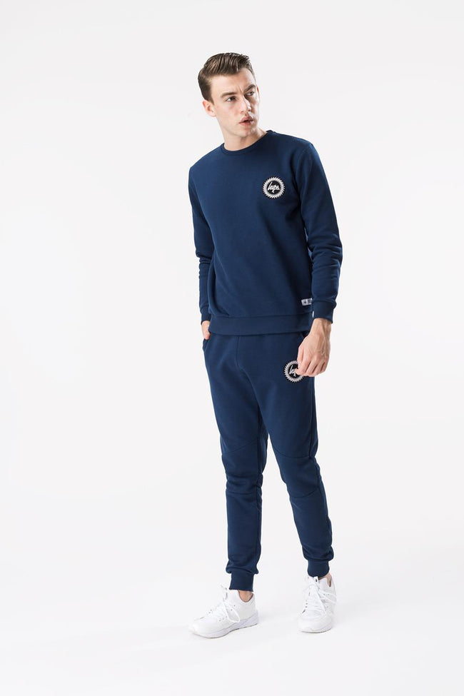 HYPE NAVY CREST MENS CREW NECK