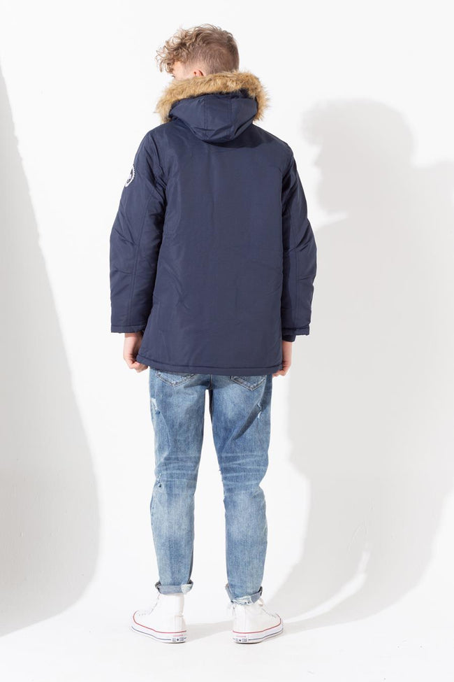 HYPE NAVY SCRIBBLE KIDS PARKA JACKET
