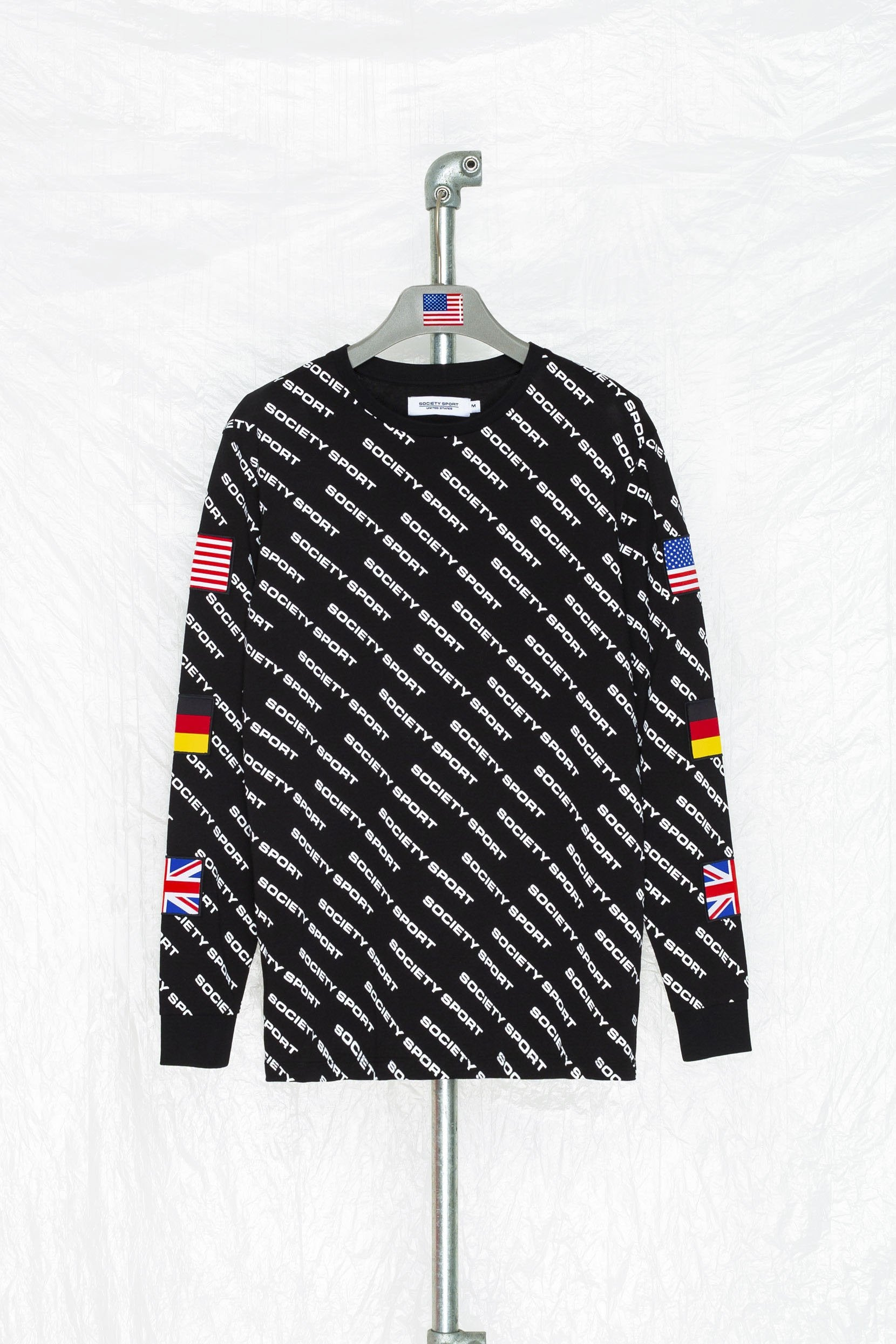 Hype Society Sport All Over Logo Black Long Sleeve T-Shirt | Size Large