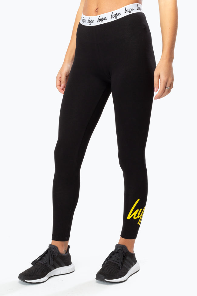 HYPE YELLOW SCRIPT WOMEN'S LEGGINGS
