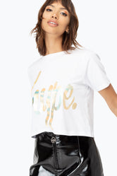 HYPE GOLD SCRIPT WOMEN'S CROP T-SHIRT