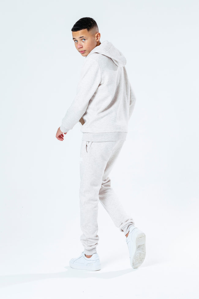 HYPE BEIGE WITH WHITE SCRIPT KIDS HOODIE & JOGGER SET