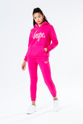 HYPE PINK WITH PINK SCRIPT KIDS HOODIE & JOGGER SET