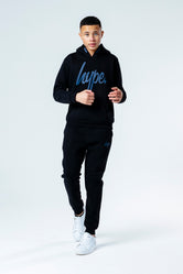 HYPE BLACK WITH NAVY SCRIPT KIDS HOODIE & JOGGER SET