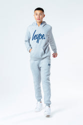 HYPE GREY WITH NAVY SCRIPT KIDS HOODIE & JOGGER SET