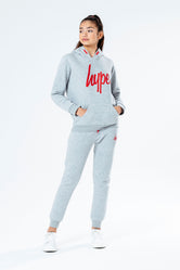 HYPE GREY WITH RED SCRIPT KIDS HOODIE & JOGGER SET