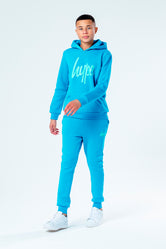 HYPE BLUE WITH GREEN SCRIPT KIDS HOODIE & JOGGER SET