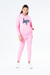 HYPE PINK WITH NAVY SCRIPT KIDS HOODIE & JOGGER SET