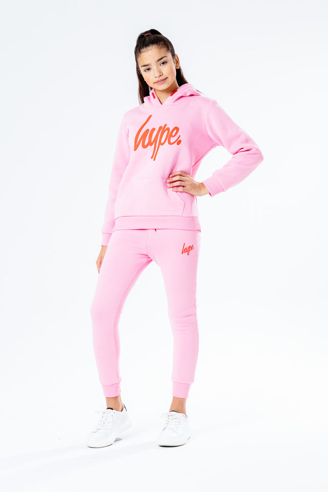 HYPE PINK WITH RED SCRIPT KIDS HOODIE & JOGGER SET