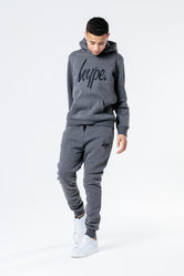HYPE ANTHRACITE WITH BLACK SCRIPT KIDS HOODIE & JOGGER SET