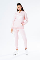HYPE PINK MELANGE WITH WHITE SCRIPT KIDS HOODIE & JOGGER SET