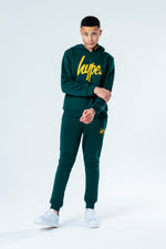 HYPE GREEN WITH MUSTARD SCRIPT KIDS HOODIE & JOGGER SET