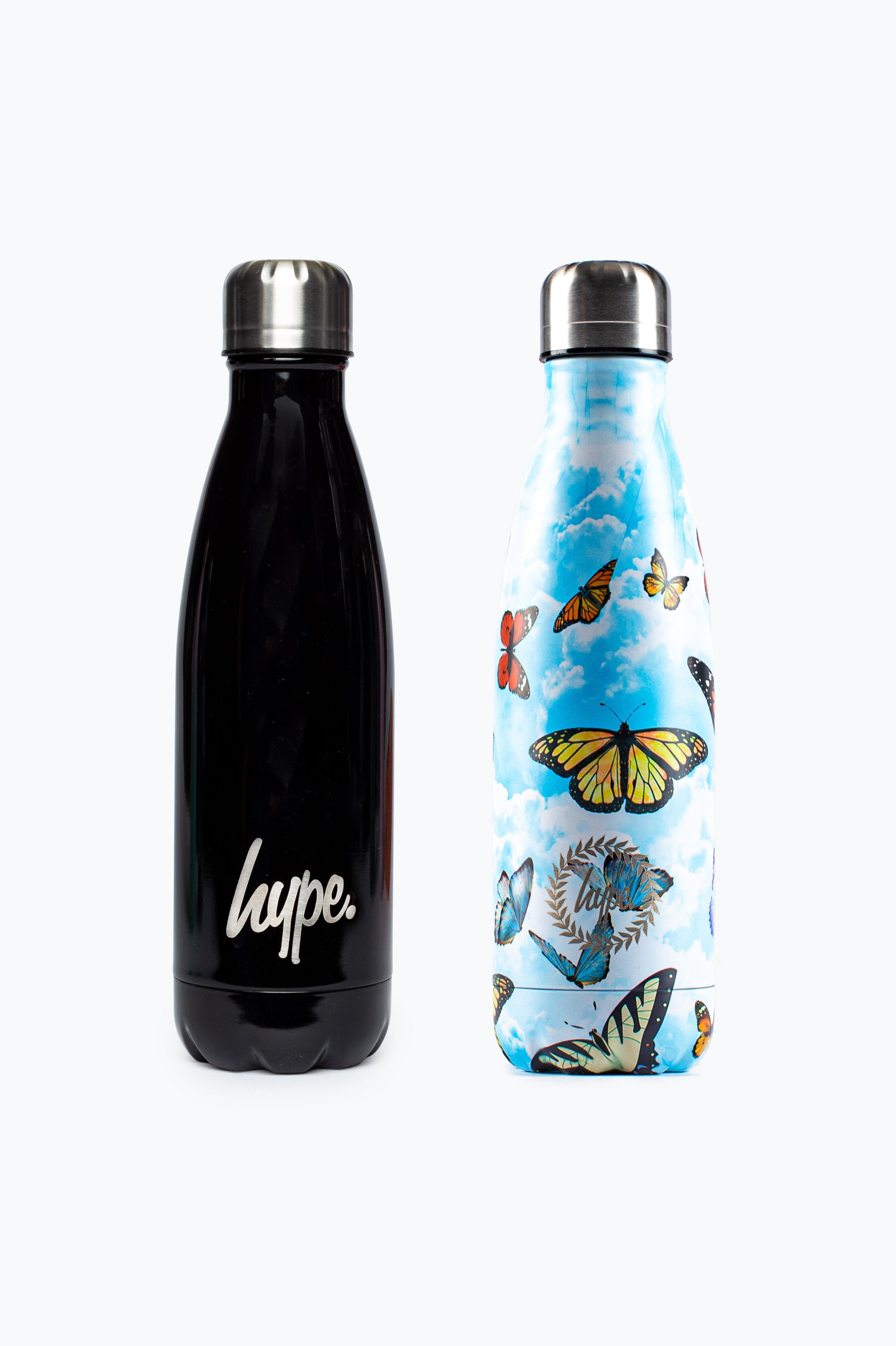Baby Products HYPE 2 PACK BLACK & BLUE BUTTERFLIES BOTTLE SET