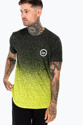 HYPE BLACK LIME SPECKLE FADE MEN'S T-SHIRT