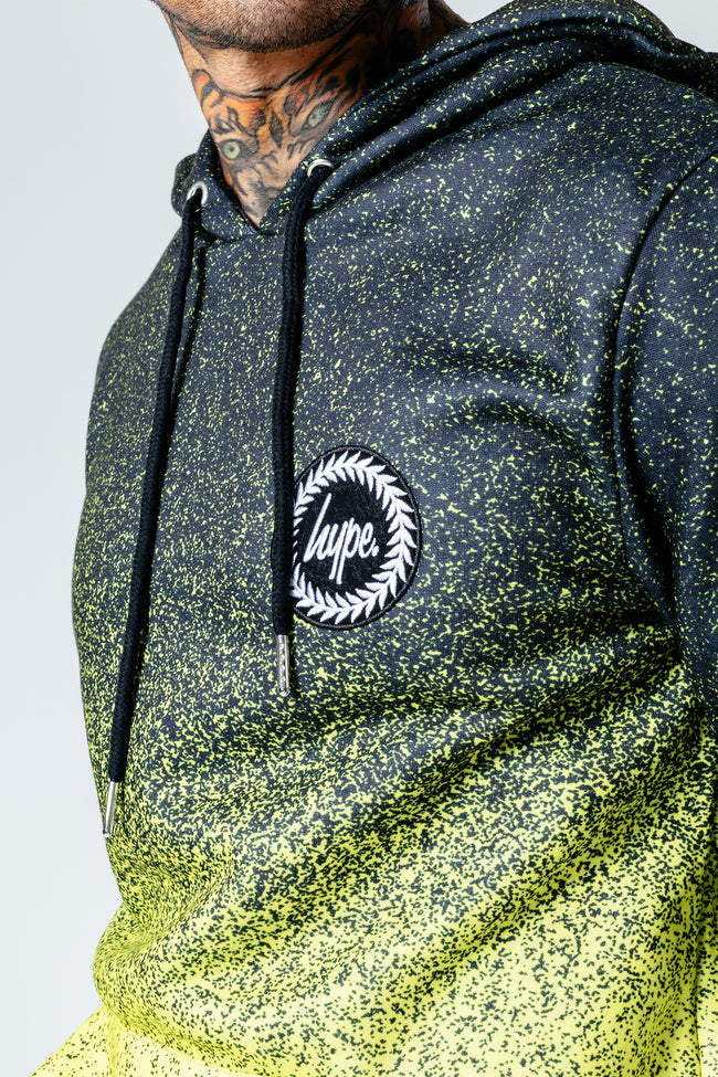 HYPE BLACK LIME SPECKLE FADE MEN'S PULLOVER HOODIE