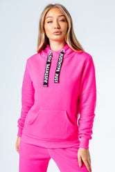 HYPE HOT PINK DRAWCORD WOMEN'S PULLOVER HOODIE