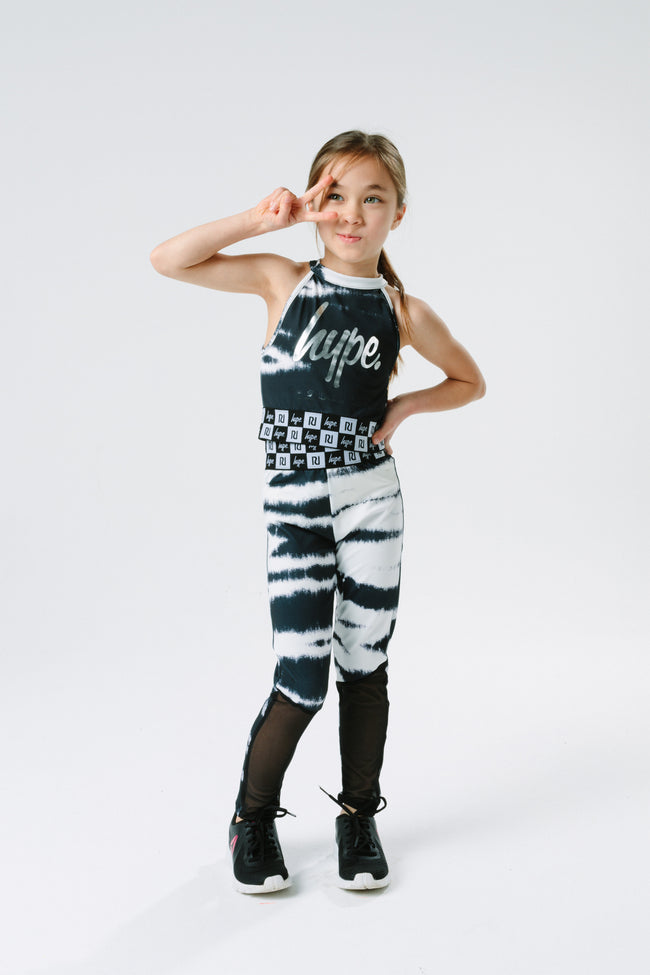HYPE X RIVER ISLAND BLACK TIE DYE KIDS LEGGINGS