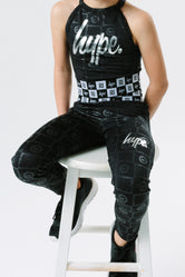 HYPE X RIVER ISLAND BLACK EMBOSSED REPEAT LOGO KIDS LEGGINGS