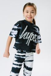 HYPE X RIVER ISLAND BLACK TIE DYE KIDS CROP T-SHIRT