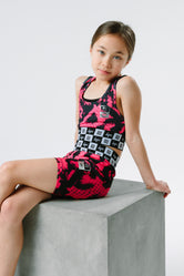 HYPE X RIVER ISLAND BRIGHT PINK ANIMAL KIDS BRALET & CYCLE SHORTS SET