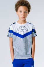 HYPE X RIVER ISLAND WHITE TAPED SLEEVE COLOUR BLOCK KIDS T-SHIRT