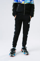 HYPE X RIVER ISLAND BLACK TAPED KIDS JOGGERS