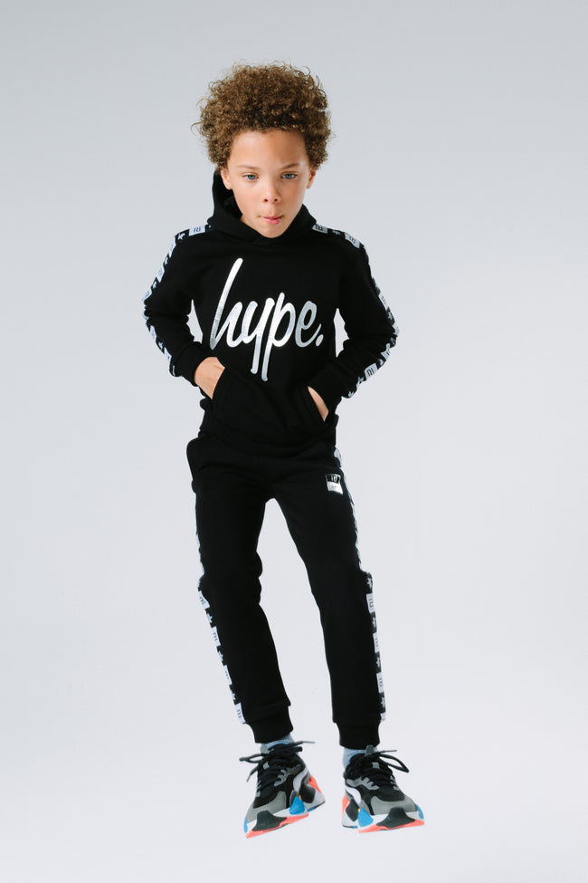 HYPE X RIVER ISLAND BLACK TAPED KIDS PULLOVER HOODIE