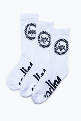HYPE 3 PACK WHITE CORE KIDS CREW SOCKS
