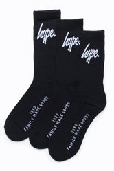 HYPE 3 PACK BLACK CORE KIDS CREW SOCKS