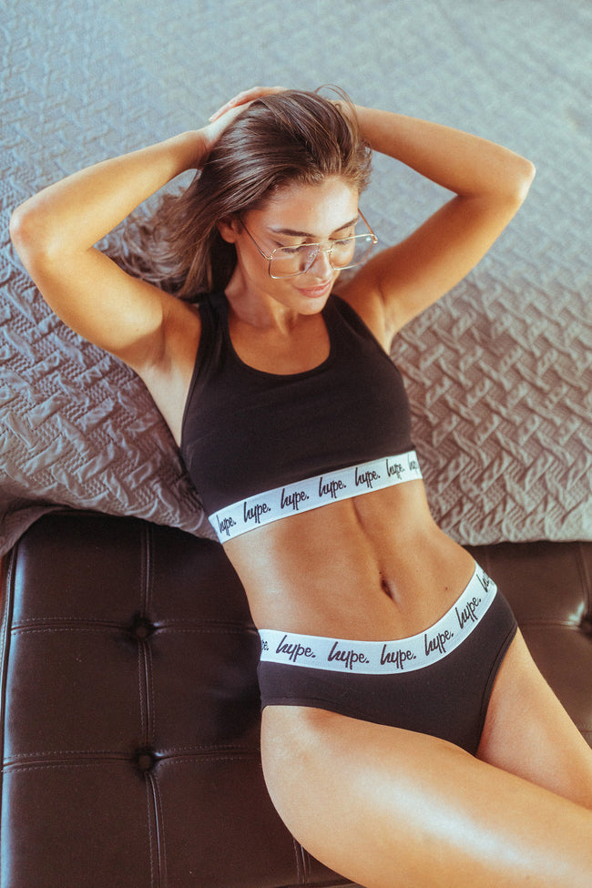 HYPE BLACK SCRIPT WOMENS BRIEFS 2x PACK