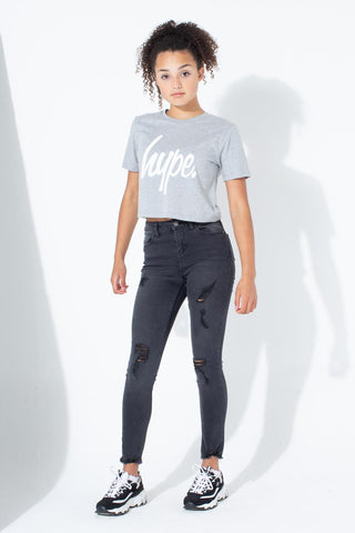 HYPE GREY WHITE SCRIPT KIDS CROP T-SHIRT