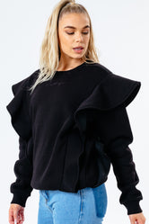 HYPE BLACK SCRIBBLE LOGO FRILL WOMEN'S CREW NECK