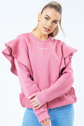 HYPE BLUSH SCRIBBLE LOGO FRILL WOMEN'S CREW NECK