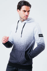 HYPE BLACK WHITE SPECKLE FADE MEN'S PULLOVER HOODIE