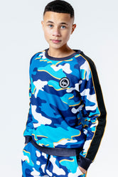 HYPE BLUELINE CAMO KIDS CREW NECK