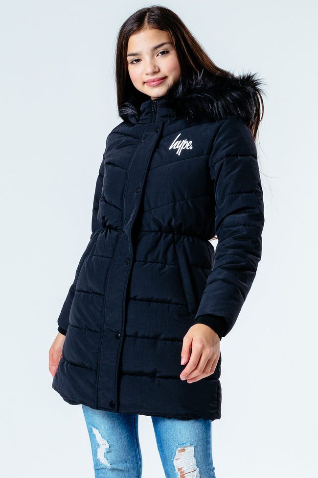HYPE BLACK FITTED PARKA KIDS JACKET
