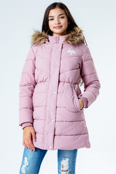 HYPE PINK FITTED PARKA KIDS JACKET