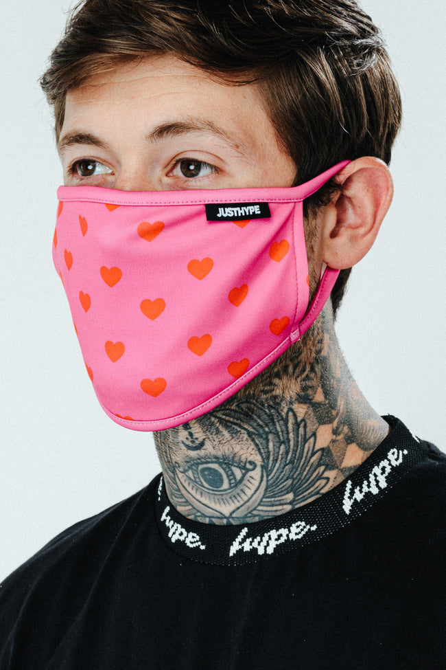 HYPE WOMENS CUTE HEARTS FACE MASK