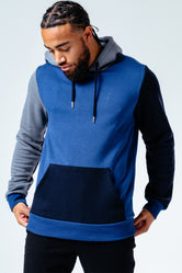 HYPE NAVY PATCH WORK MEN'S PULLOVER HOODIE