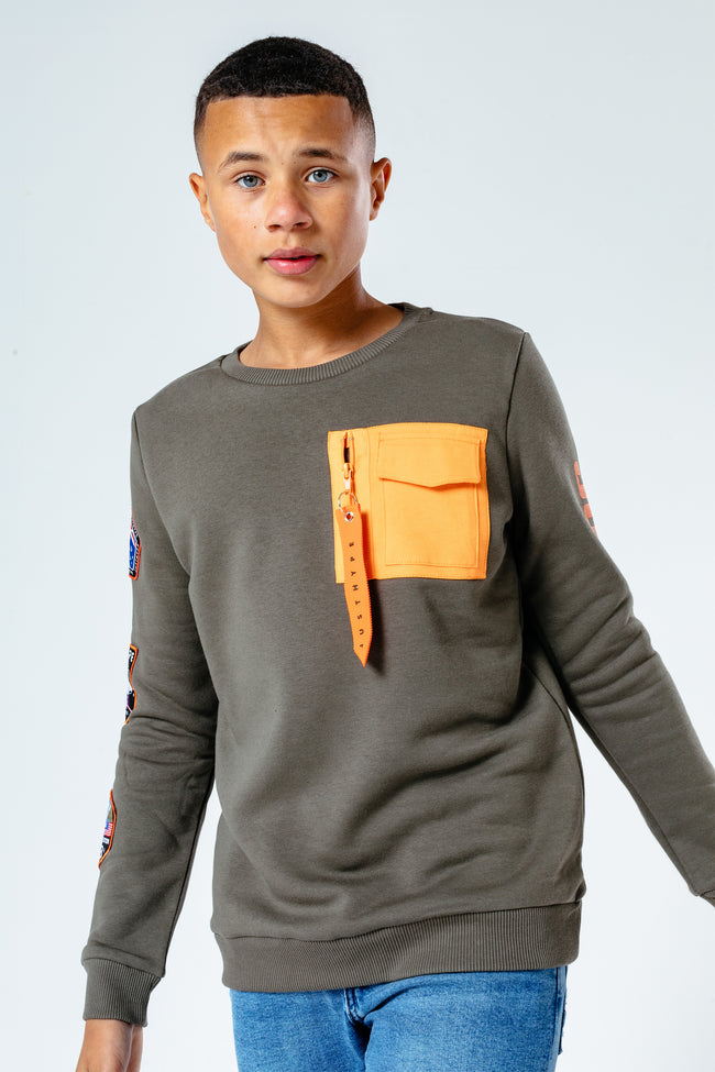 HYPE KHAKI SPACE PATCH KIDS CREW NECK