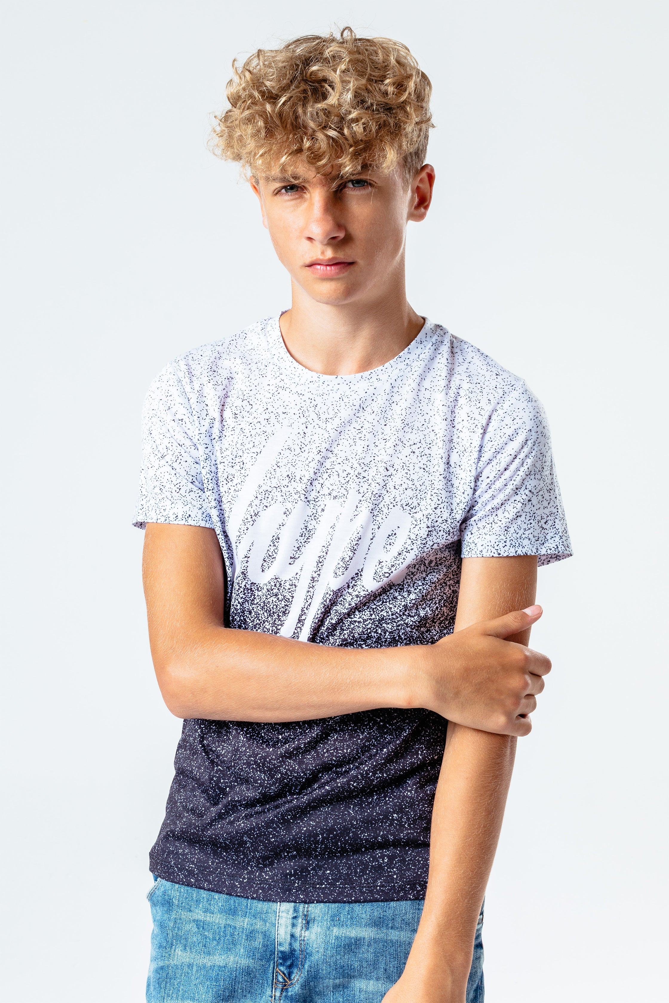 Hype Speckle Fade Kids White/black T-Shirt | Size 7/8Y
