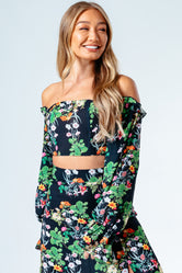 HYPE DITSY FLORAL WOMEN'S BARDOT TOP