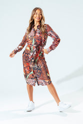 HYPE RED PERSIAN ROSE WOMEN'S SHIRT DRESS