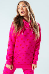 HYPE PINK HEART WOMEN'S PULLOVER HOODIE
