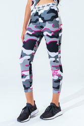 HYPE PINK LINE CAMO KIDS LEGGINGS