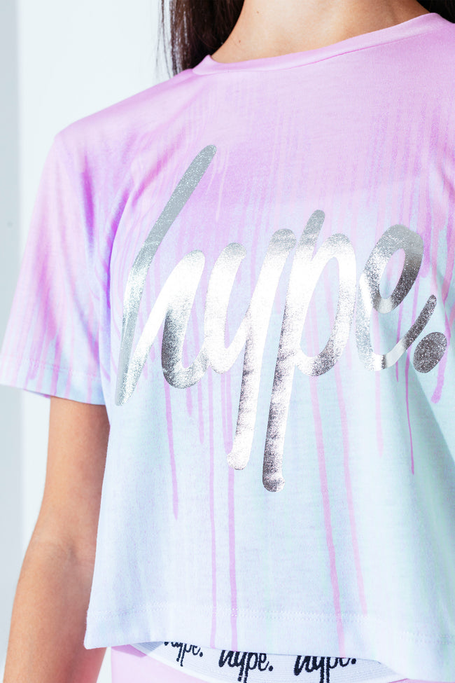 HYPE PASTEL DRIPS KIDS CROP T-SHIRT