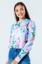 HYPE DAISY RAINBOW KIDS CROP CREW NECK