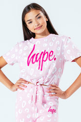 HYPE PINK SPOTS KIDS CROP T-SHIRT