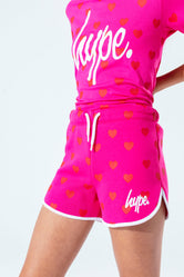 HYPE PINK HEART KIDS RUNNER SHORTS