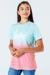 HYPE MINT & PEACH FADE SCRIPT KIDS T-SHIRT